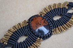 Black Gold Macrame Bracelet/ Mahogany Obsidian/ by SpiritYSol