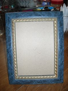 Light Plastic Blue Marble with Gold Antique color Trim Photo Frame ~ for sale at Wenzel Thrifty Nickel eCRATER store