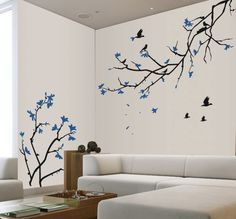 cherry blossom tree blowing in wind | Cherry Blossom Wall Decal - Blue Cherry Blossom Sakura Tree Branches ...