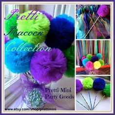Peacock party or wedding decorations by Pretti Mini Party Goods