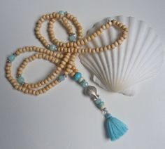 yoga by the sea   turquoise aqua tassel necklace by beachcomberhome on Etsy, $29.00