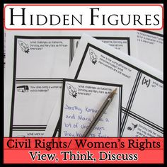 Hidden Figures Movie Guide: Civil Rights/ Women's Rights High School History, History Class, Teaching History, Teacher Notes, Teacher Pay Teachers, Quizzes And Answers, Writing Lists, Hidden Figures, Movie Guide
