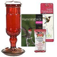 Hummingbird Feeders, Red Antique Glass Hummingbird Feeder Kit, BHUMKIT2 $32.00