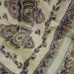 'Kantha' hand embroidered Tussar Silk Saree from West Bengal, India