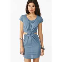 Nasty Gal blue front knot cutout dress Blue dress with front knot and side cutouts. Brand is ark & co, bought on nasty gal's website. Size S but fits XS-S (material is stretchy!). Worn twice, perfect condition. Originally $58 + tax. Nasty Gal Dresses Mini