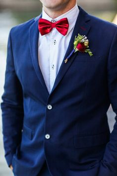red bowtie, navy blue suit groom's outfit | Grooms   Groomsmen ...