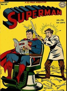 Superman getting a haircut, reading his favorite comic book