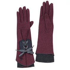 Lace-up flare gloves in wine