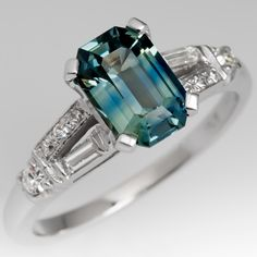 Shimmery Light Blue Green Sapphire Engagement Ring 1950's Mounting