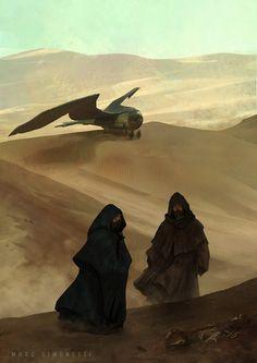 Marc Simonetti - Interior illustration for Dune Messiah by Frank Herbert Arte Sci Fi, Sci Fi Art, Dune Book, Dune Frank Herbert, Dune Art, Science Fiction Art, Sci Fi Fantasy, Fantasy Characters, Dune Characters