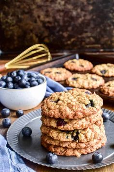 Stack of Blueberry Oatmeal Cookies on a serving tray Well, dream no longer dear readers, because jo is here to tell you that anything is possible with the right combination of. Have you ever dreamed it would be possible to combine the soft, rich, sumptuous flavor of cheesecake into the hand held treat that is a cookie? Blueberry Oatmeal Cookies, Best Oatmeal Cookies, Blueberry Jam, Blueberry Recipes, Healthy Cookies, Good Healthy Recipes, Delicious Desserts, Diabetic Desserts, Diabetic Recipes
