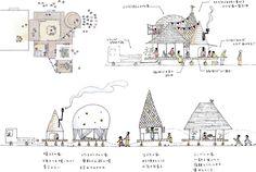Tカード提示で被災地の子どもたちに笑顔を。|TポイントとTカードの総合サイト[T-SITE] Landscape Architecture Drawing, Architecture Sketchbook, Architecture Images, Architecture Illustrations, Collage Illustration, Landscape Illustration, African House, Concept Draw, Public Space Design