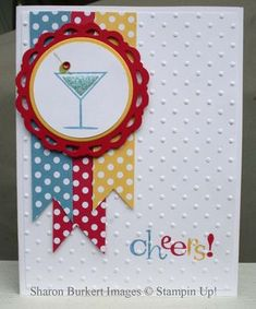 I love the polka dotted papers on the dot-embossed background!  I could make this!