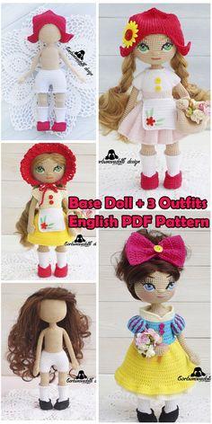 Crochet Doll Pattern - Doll Base with 3 Outfit Sets, amigurumi doll pdf, stuffed doll pattern, amigurumi tutorial, diy amigurumi doll Crochet Doll Pattern, Crochet Toys Patterns, Amigurumi Patterns, Stuffed Toys Patterns, Crochet Dolls, Amigurumi Tutorial, Tutorial Crochet, Handmade Dolls Patterns, Doll Patterns