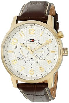 Tommy Hilfiger Men's 1791082 Analog Display Quartz Brown Watch * You can get additional details at the image link. Tommy Hilfiger Watches, Women Brands, Stainless Steel Case, Cool Watches, Chronograph, Brown Leather, Quartz, Display, Image Link