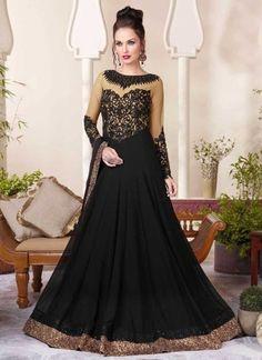 Black Embroidery Thread Resham Work Georgette Party  Wear Anarkali Salwar Kameez http://www.angelnx.com/Salwar-Kameez/Anarkali-Suits#/