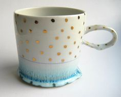 Gold Polka dot mugs Not what this pin links to BUT I could use a