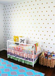 polka dots, kid bedrooms, dot wall, nurseri, diy project