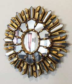 Beautiful Vintage hand crafted and gold painted Peruvian Mirror by DragonflyDesignLab on Etsy