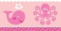 """Cover your tables in colors of white, pink, and green - with the designs of the Ocean Preppy Girl theme.  Whales and octopus design on a white poly plastic tablecover that measures 54 inches wide by 108 inches long.  The design runs along the 12"""" outermost portion long dimension, leaving approximatley 30"""" of white in the center for the top of your buffet style table."""