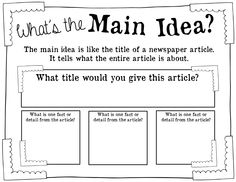 Using Newspapers to Practice Main Idea