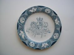 Emily Sutton, Lion and Unicorn plate, Primed and painted bamboo plate, 28cm diameter, For sale at The Scottish Gallery June 2011- see gallery site for details