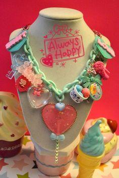 I Love Lollipop Barbie Sweet Love Chunky Yummy Charms Kawaii Necklace   Kawaii4U - Jewelry on ArtFire