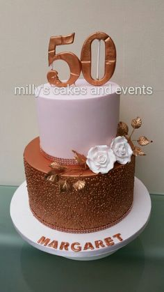 50th birthday cakes, cakes for ladies, elegant birthday cakes, rose gold cake,  fifty and fabulous