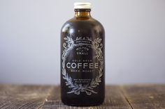 Milton & Small Cold Brew Dark Roast Coffee ~ inspiration came from an apothecary bottle for the packaging and logo design | photography by Honestly YUM | product designer Tracy Lenihan