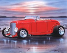 An 11x14 inch art print of a 1932 Ford Roadster Hiboy. A print from a painting by Parry Johnson. Direct from the artist. The artwork is hand sketched, pen &am