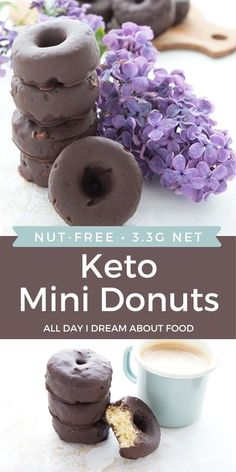 Mini keto donuts dipped in sugar-free dark chocolate. Made with coconut flour, these mini baked donuts are an easy, delicious snack.