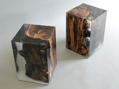 Stump side table is a log from the undergrowth of the Italian Dolomite mountains with his native populations of plants preserved by a extraclear resin