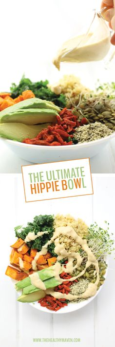 The Ultimate Hippie Bowl - Every Superfood you can imagine is in this recipe. Fresh Kale, Sweet Potatoes, Quinoa, Avocado, Goji Berries and More!