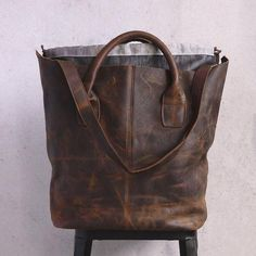 Retro Women Casual Leather Dark Brown - Buykud