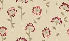 Carmen Floral Red (805406) - Arthouse Wallpapers - A beautiful, contemporary design of stylish dandelion clocks in red, set on a hessian-effect textured blown vinyl background of creamy beige. Additional colourways also available. Please order sample for true colour and texture match.