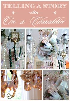 How to personalize your vintage crystal chandelier | Vintage chandelier DIY | Add personality to a crystal chandelier | Decorating a teacup chandelier | designthusiasm.com