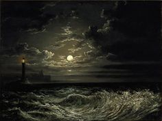 """laclefdescoeurs: """"In the moonlight: An offshore lighthouse with a headland beyond, Attributed to Philip John Ouless """""""
