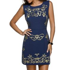 Trendy Sleeveless Round Neck Skinny Slimming Floral Embroidery Women's Dress — 28.28 € Size: M Color: PURPLISH BLUE
