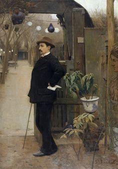 Santiago Rusinol - The painter Miguel Utrillo in the gardens of the Moulin de la Galette