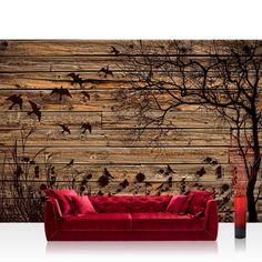 Fototapete 254x168 cm PREMIUM Wand Foto Tapete Wand Bild Papiertapete - Holz Tapete Holzwand Holzoptik Holz Schatten Malerei Baum Gras Vögel braun - no. 2050: Amazon.de: Baumarkt
