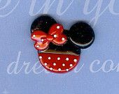 Minnie Mouse. This says polymer clay, but why not use chocolate covered Oreo?