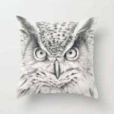 Owl Throw Pillow by S-Schukina - $20.00