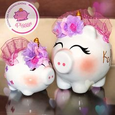 Pigs, Piggy Bank, Decoupage, Kawaii, Baby Shower, Crafts, Safe Room, Craft Videos, Creative Crafts