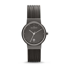 Sleek in design and sophisticated in detail, the smaller of the Ancher Striped Steel Mesh Watch features a cabled stainless steel mesh band with clasp closure. Set into the 26-mm chromed stainless steel case with its mirrored border is an elegant dial with a date window at the 6 o'clock position and crystals at all other hours. This Ancher women's timepiece has three-hand movement.