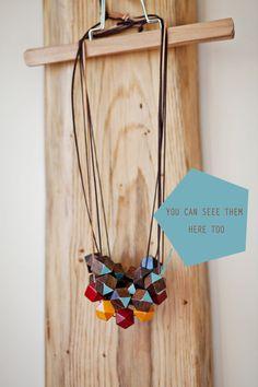 Wooden Boho Necklace / Brown  Blue Necklace / by BlueBirdLab, $26.00