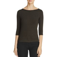 Three Dots Rib Stripe Tee - 100% Bloomingdale's Exclusive ($93) ❤ liked on Polyvore featuring tops, t-shirts, tapenade, stripe top, ribbed top, stripe tee, striped tee and stripe t shirt