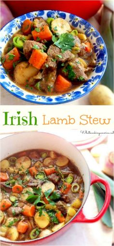 Irish Lamb Stew Recipe - Stovetop, Oven and Slow Cooker Instructions  | whatscookingamerica.net  | #irish #lamb #stew #stpatricksday #dutchoven #slowcooker