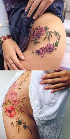 Girly Watercolor Flower Hip Tattoo Ideas for Women - Feminine Floral Wreath Thigh Tat - guirnalda de flores ideas de tatuaje de cadera - www.MyBodiArt.com #watercolortattooideas #tattooideas