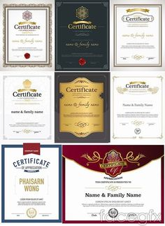 Classical European style certificate vector