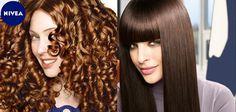 Strahlend schönes Haar - welcher Typ bist du? Lockig oder glattes Haar?   Des cheveux rayonnants de beauté - Et vous, vous êtes quoi? Cheveux frisés ou cheveux plats? #nivea #hair